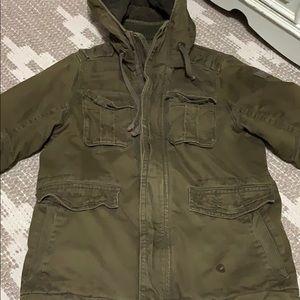 Abercrombie XL men's green thick winter coat